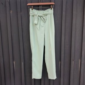 Mint green high waisted paperbag ankle pants